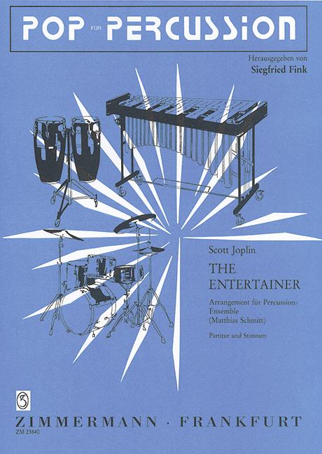The Entertainer Joplin Scott score and parts percussion-ensemble 5–8 player